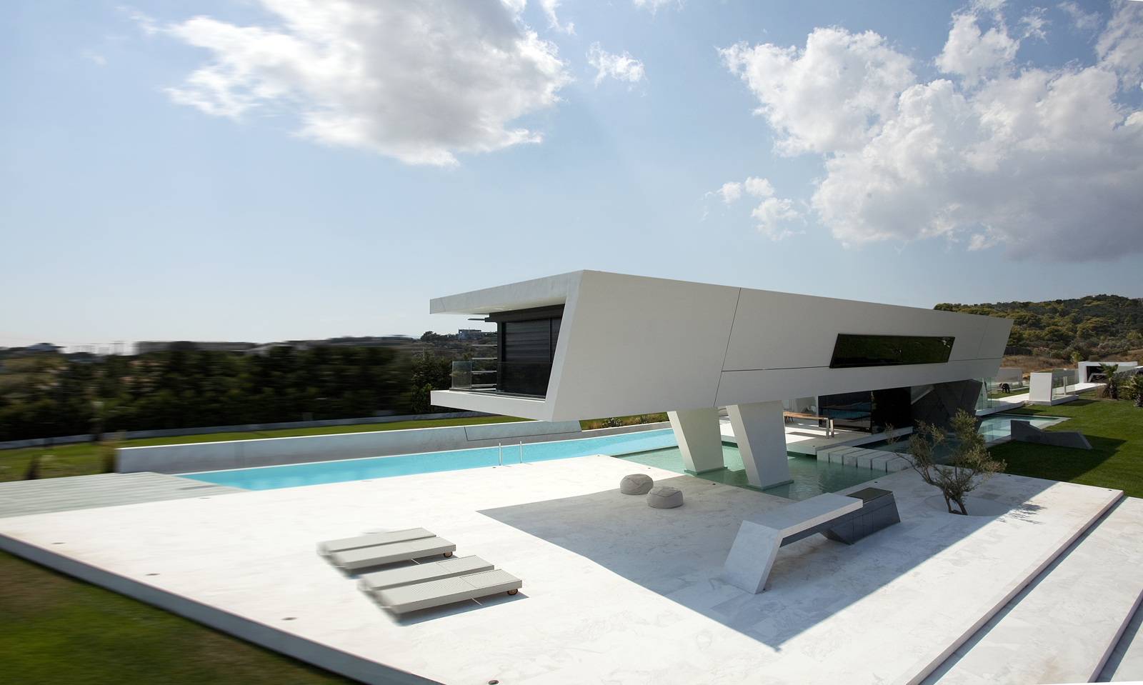 Ground floor terrace of an Impressive Ultra Modern House in Athens
