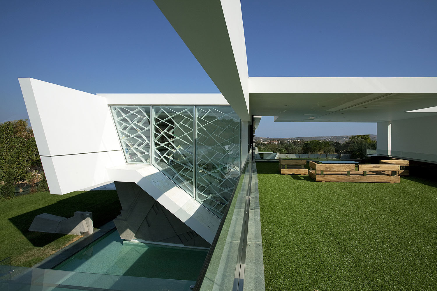 Terrace And Facade Of An Impressive Ultra Modern House In Athens
