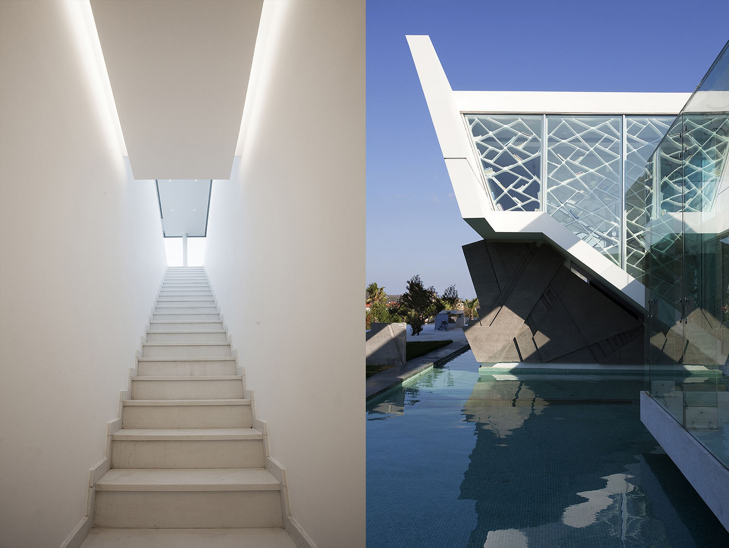 Stairs and facade of an Impressive Ultra Modern House in Athens