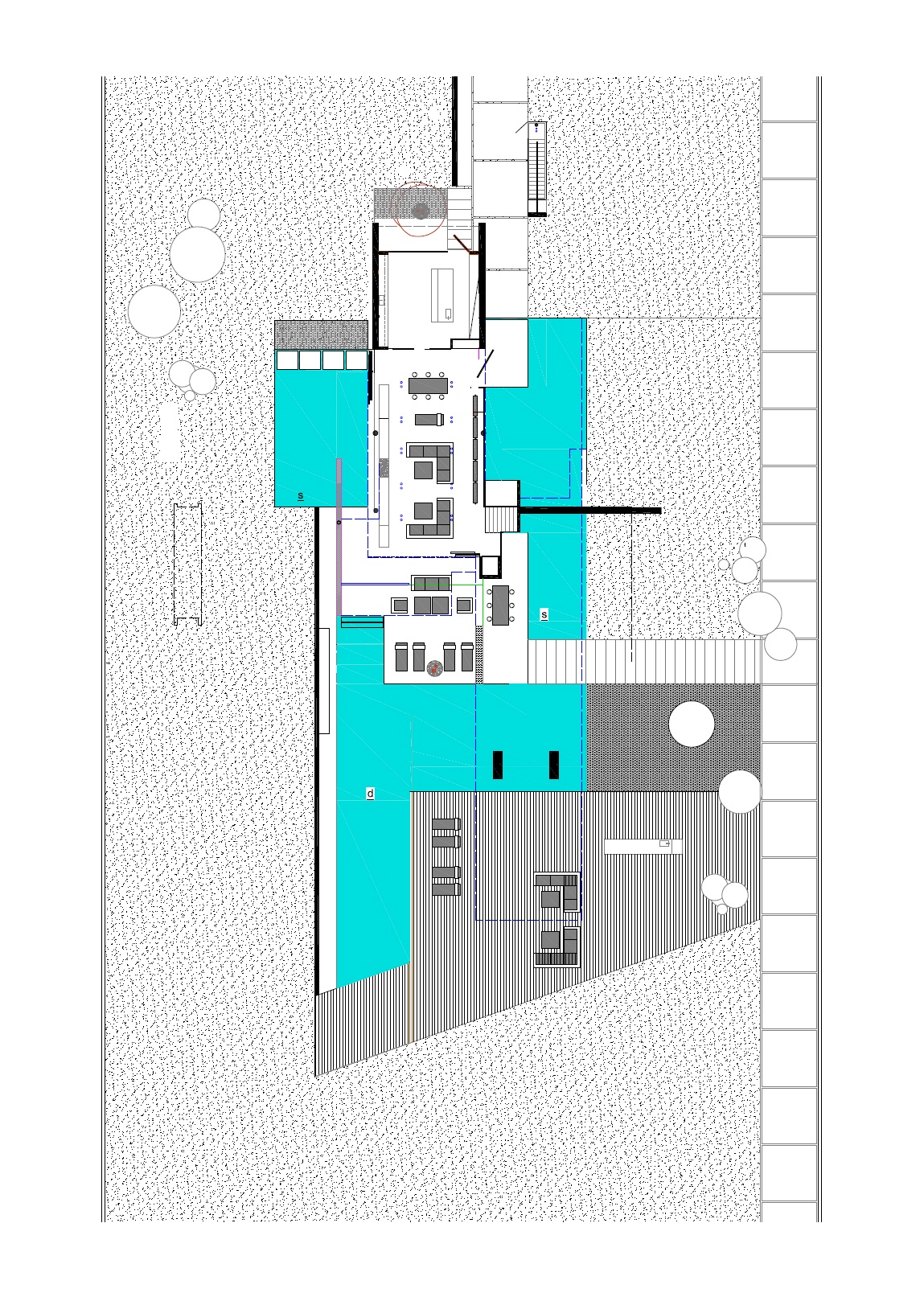 Ground floor plan of an Impressive Ultra Modern House in Athens