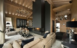 Amazing modern living room as part of inspiring modern chalet interior