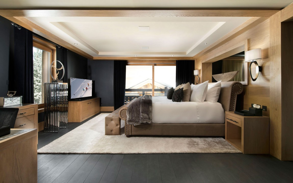 Inspiring modern chalet interior design from french alps for Chambre in french