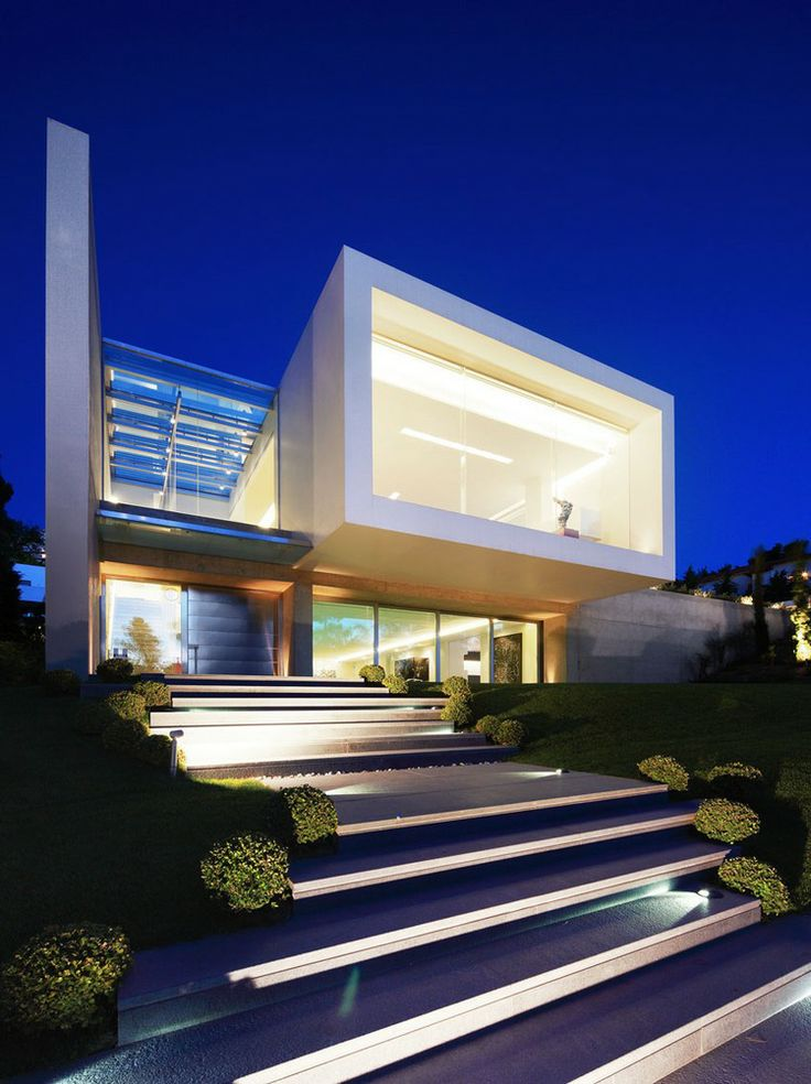 Modern home at night