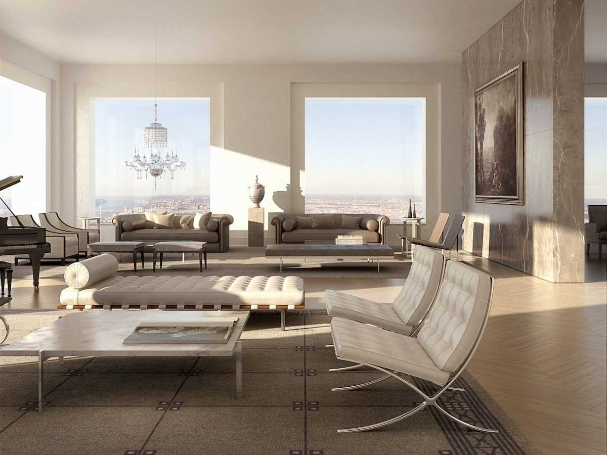 Living room in 432 Park Avenue penthouse