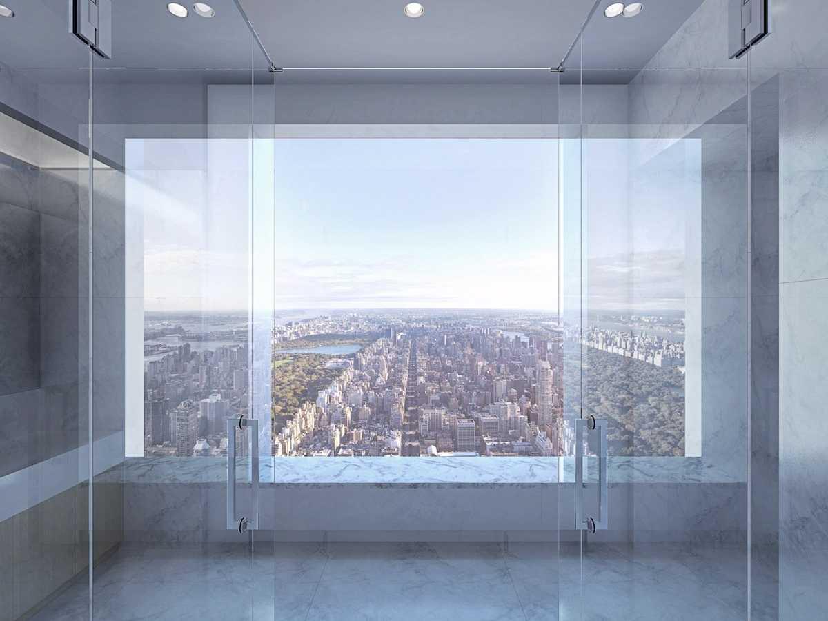 Penthouse shower in 432 Park Avenue
