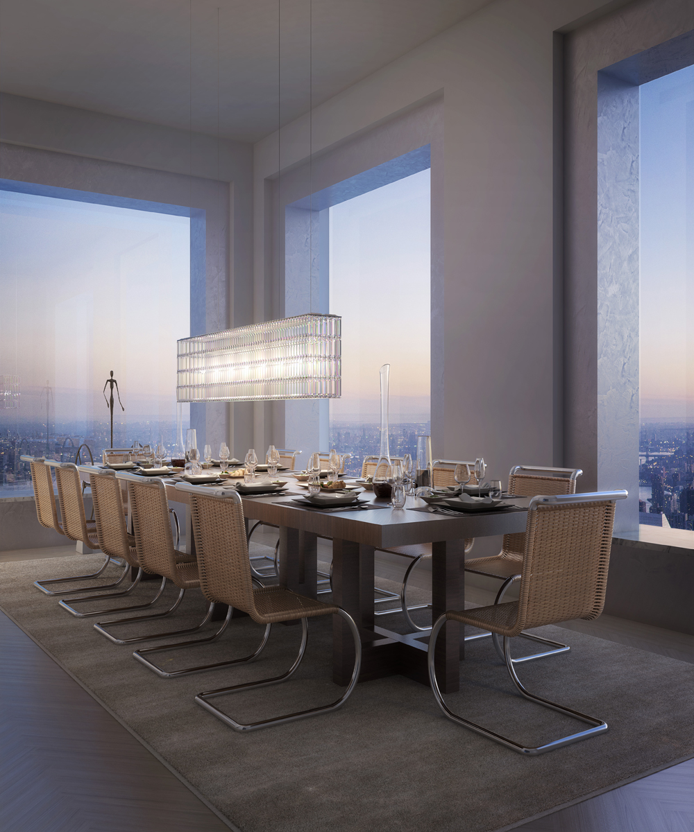 Penthouse dining room in 432 Park Avenue