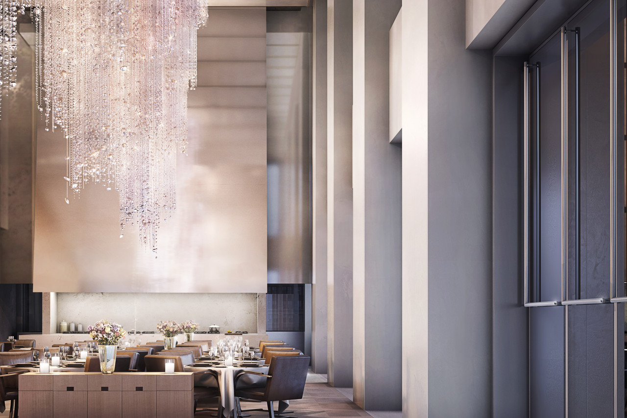 Restaurant and lobby in 432 Park Avenue