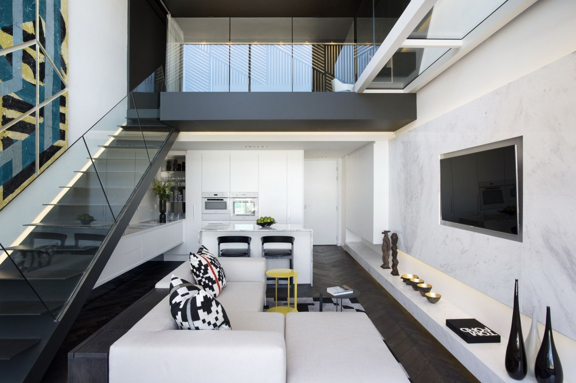 White And Black Interior Design In Small Apartment By SAOTA De Waterkant Cape Town
