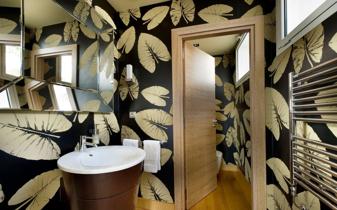 Creative bathroom wallpaper