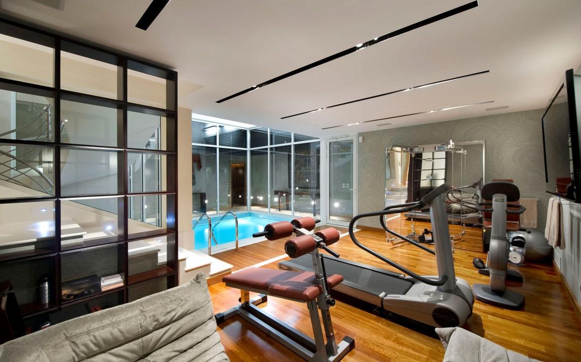 Bright modern home gym