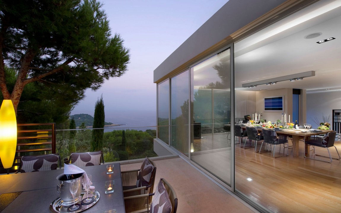 Terrace view from modern villa in France