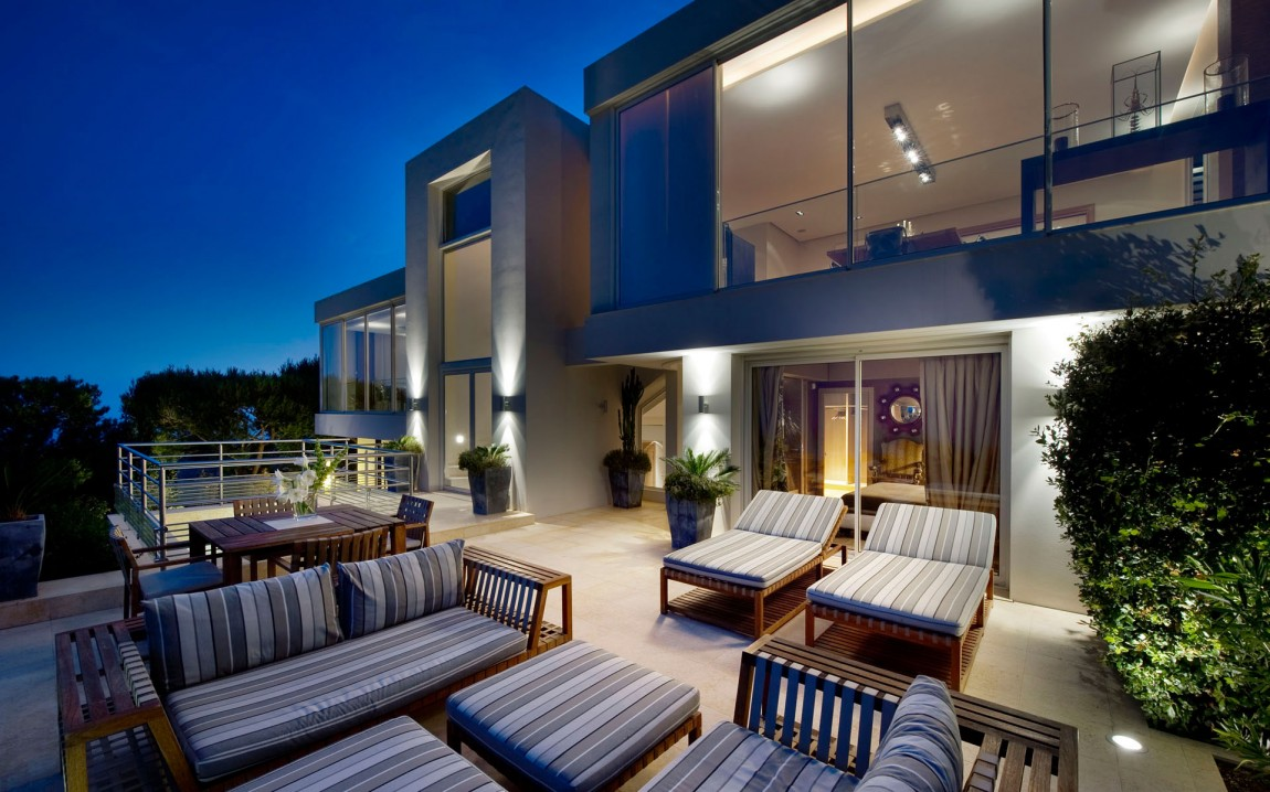 Terrace of modern dream home at night