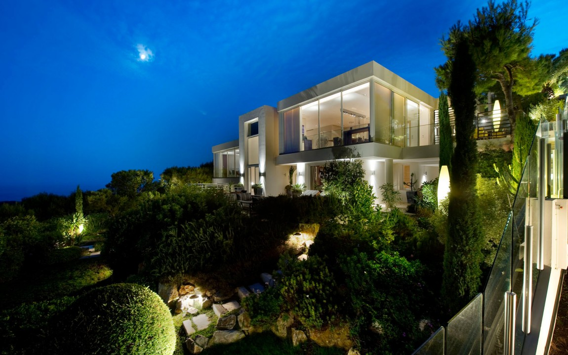 Modern luxury dream home in France at night