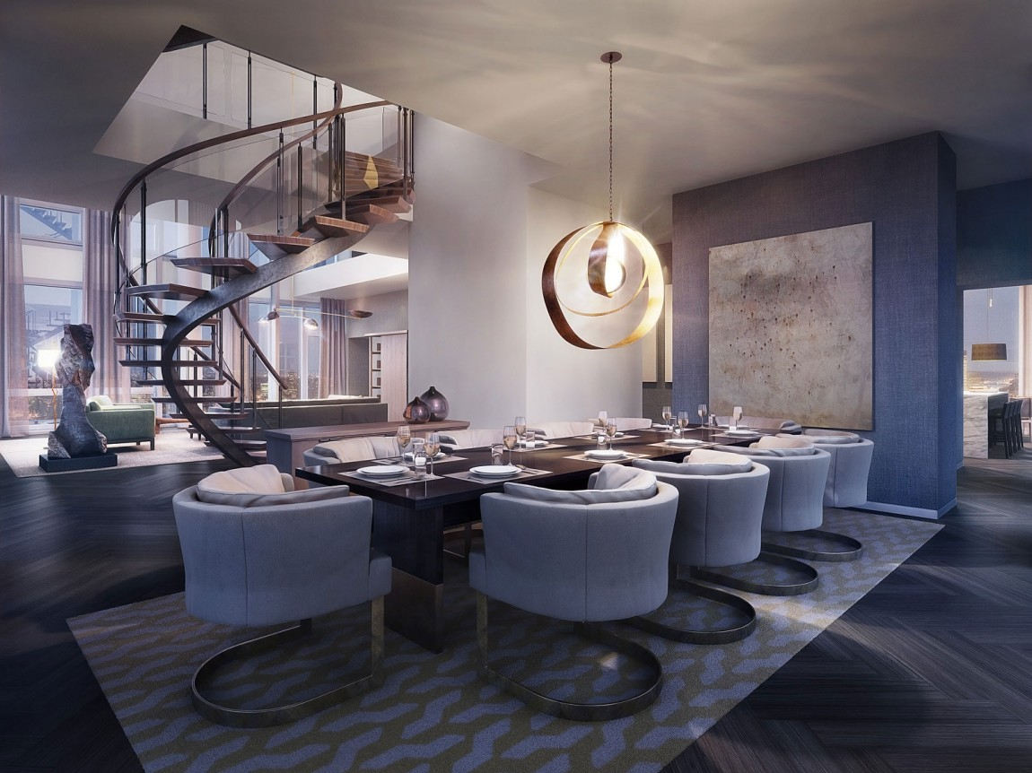 Modern Penthouse : Modern dining room in One Madison penthouse apartment