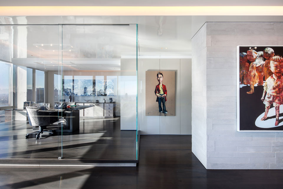 contemporary kitchen office nyc. Glass Home Office In The Manhattan Apartment. Bright Apartment Living Room. Modern Kitchen Contemporary Nyc