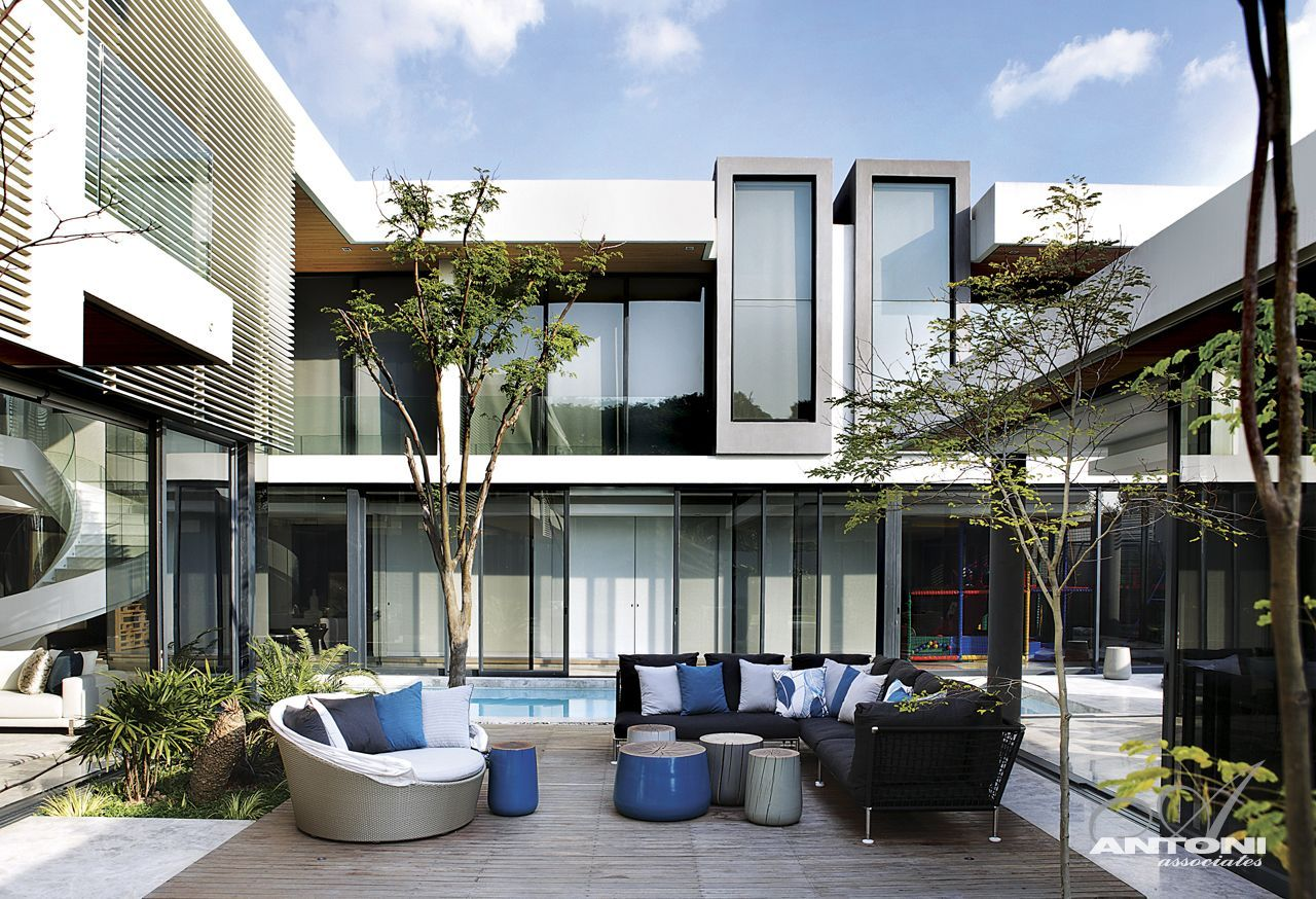 Terrace and contemporary furniture