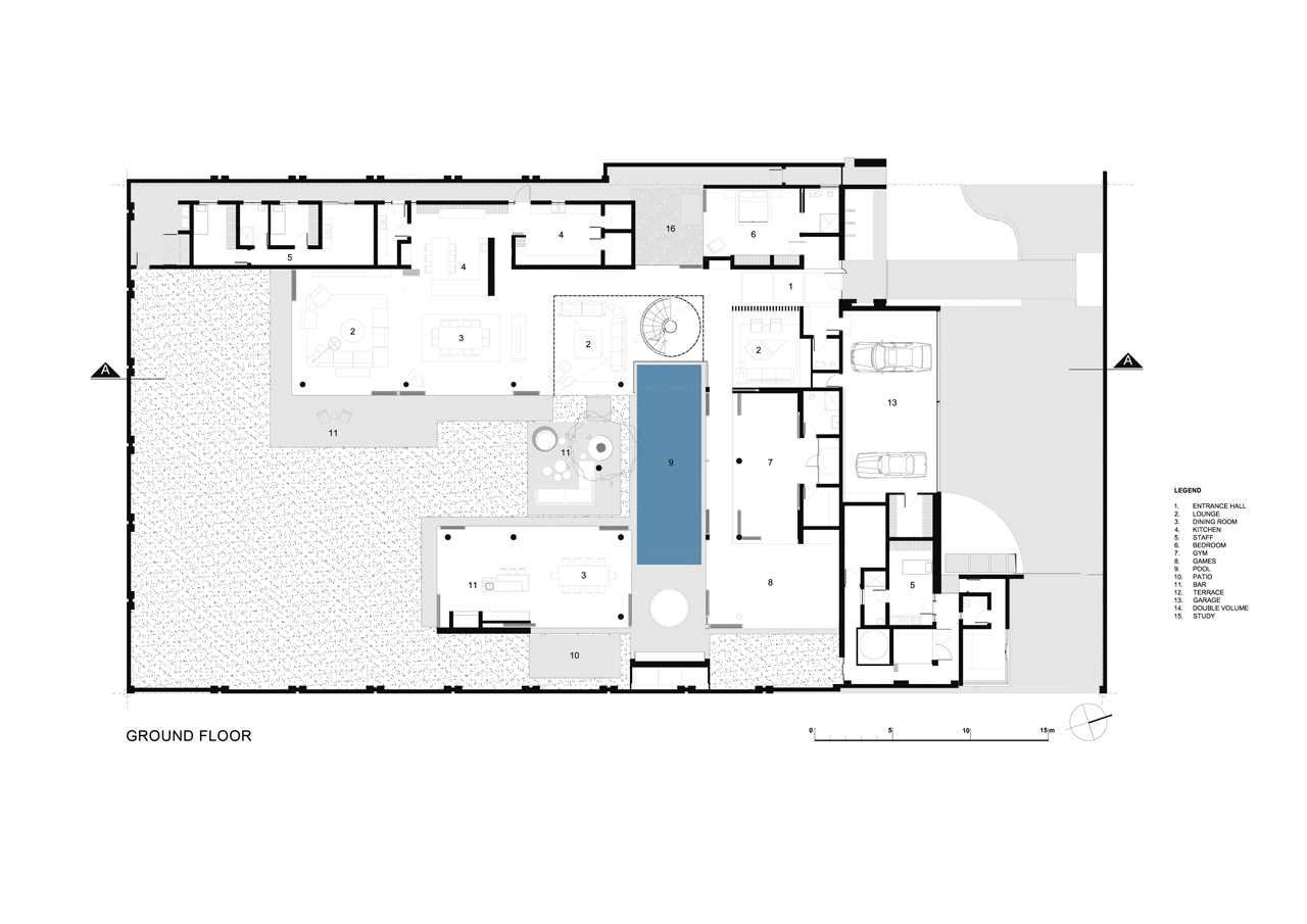 Ground Level Floor Plan Of Modern Mansion