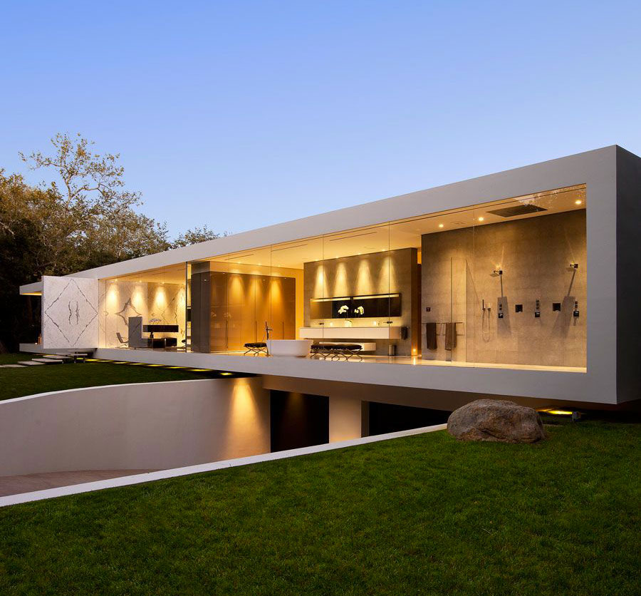 jim bartsch modern facade on the glass pavilion house - Minimalist Home Design