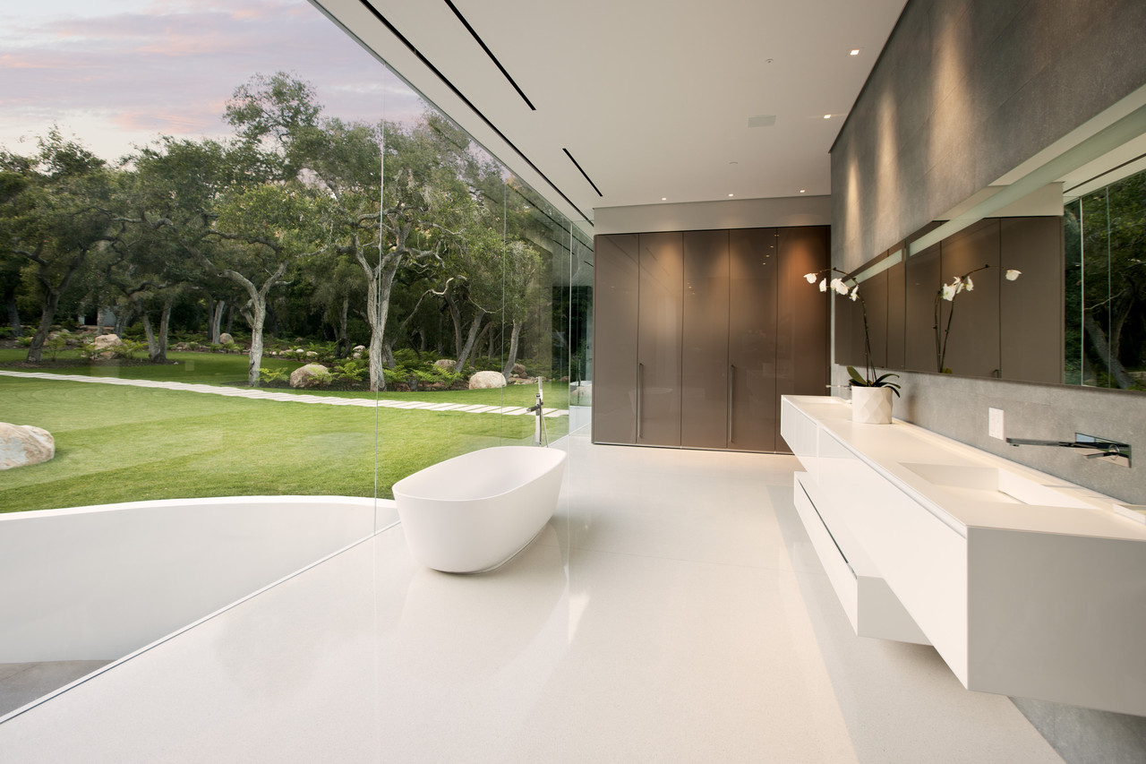 Jim Bartsch White Minimalist Bathroom