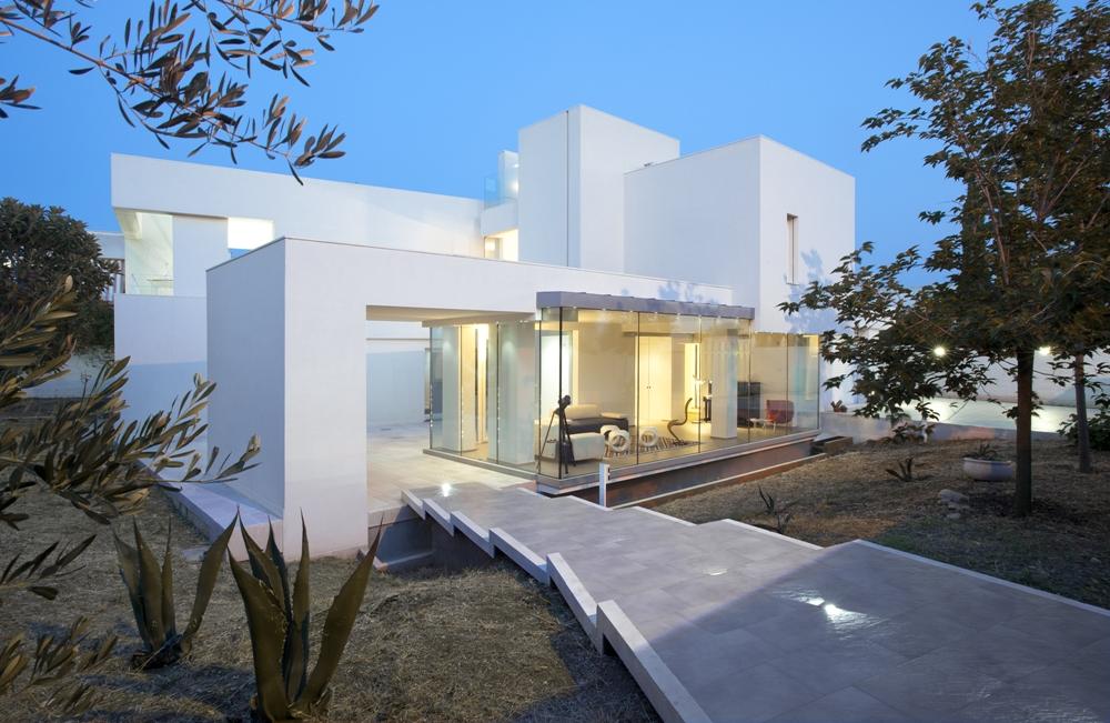 Minimalist white facade