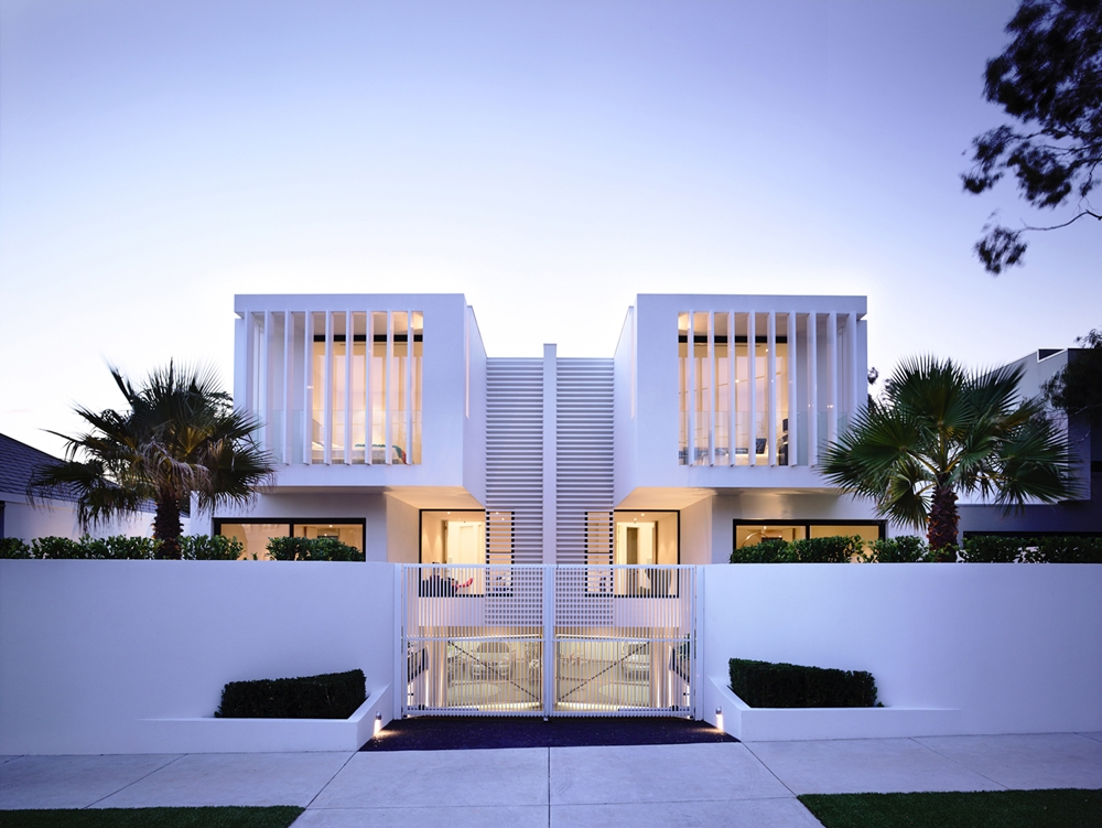 White facade at the sunset