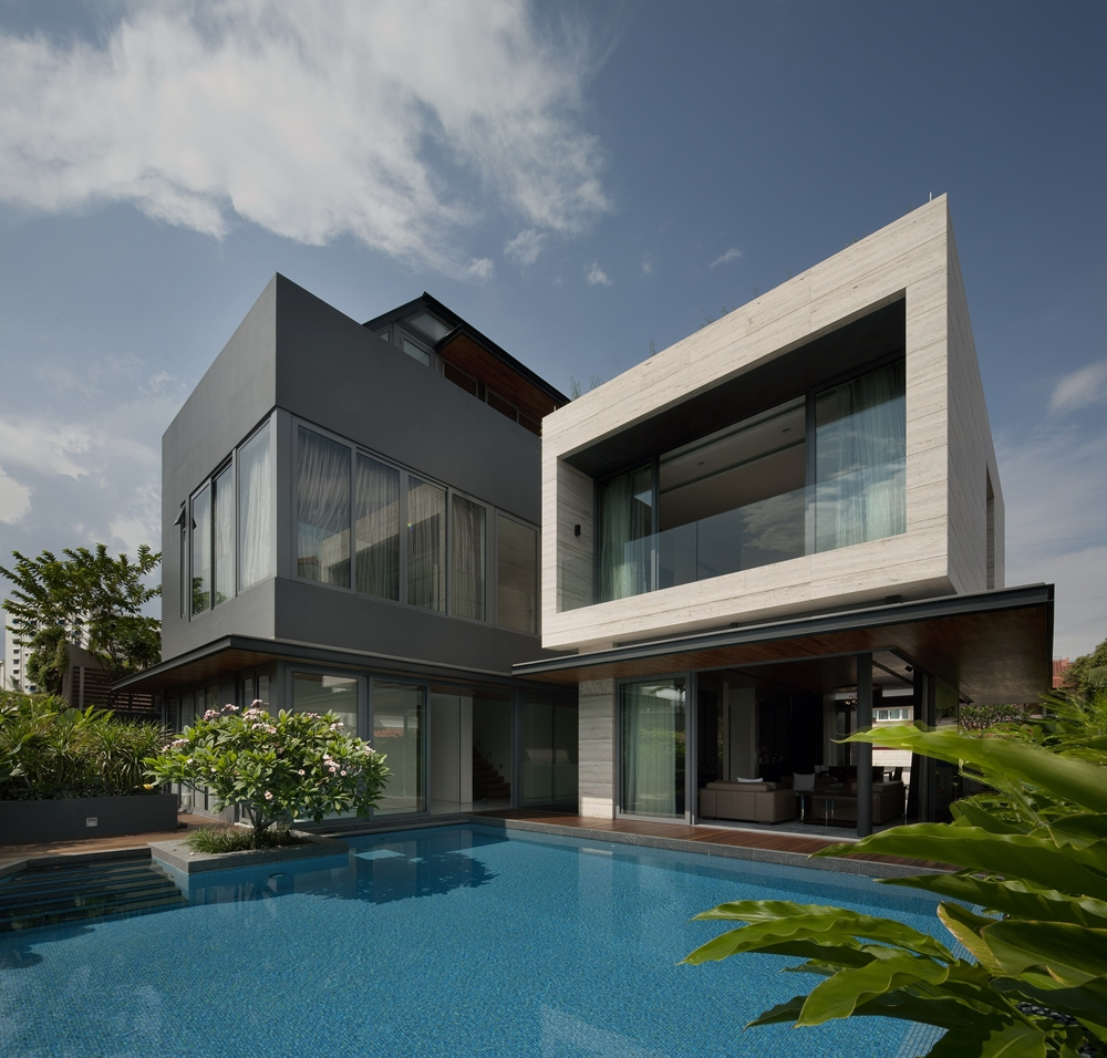 Great Modern Dark And Bright Facade. Modern White Home And Swimming Pool.  Top_50_Modern_House_Designs_Ever_Built_featured_on_architecture_beast_26