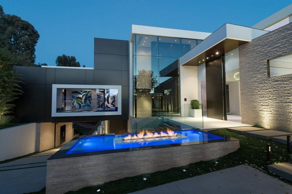 Modern facade and outdoor fireplace