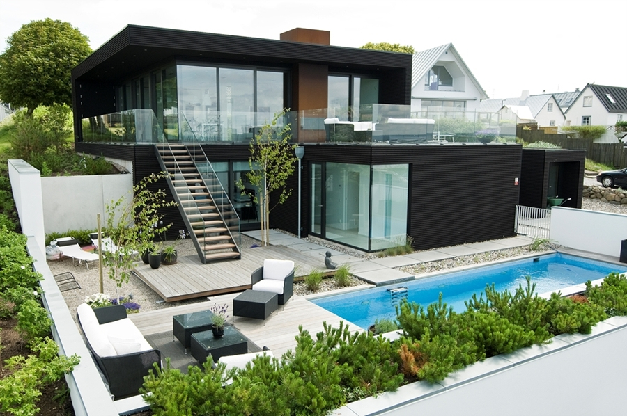 Small black modern home