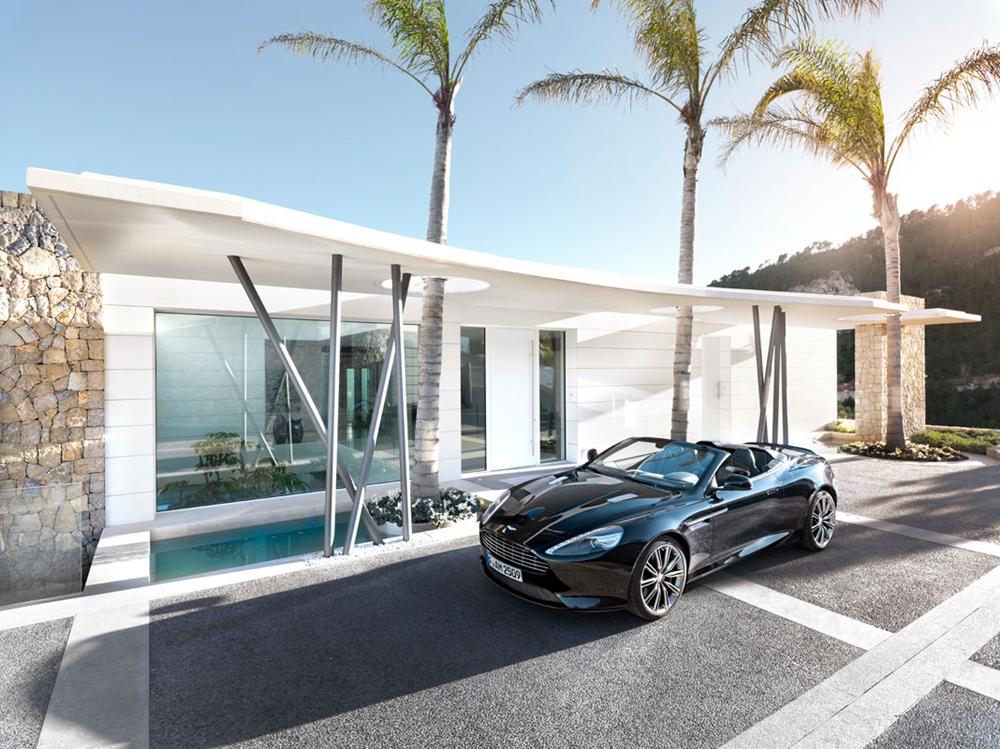 Modern white facade and car
