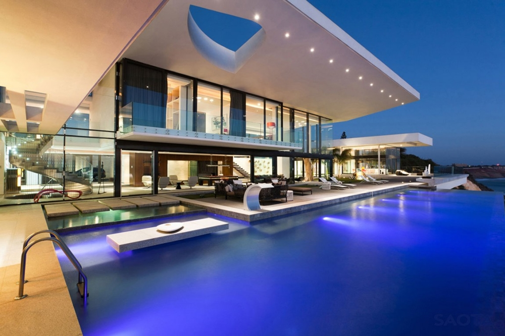 Large swimming pool and modern facade