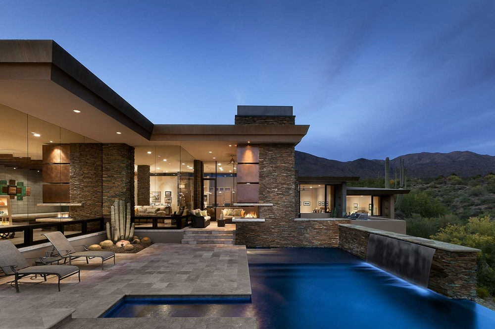 Modern home with stone facade