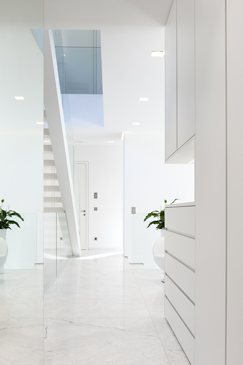 All White Houses White hallway