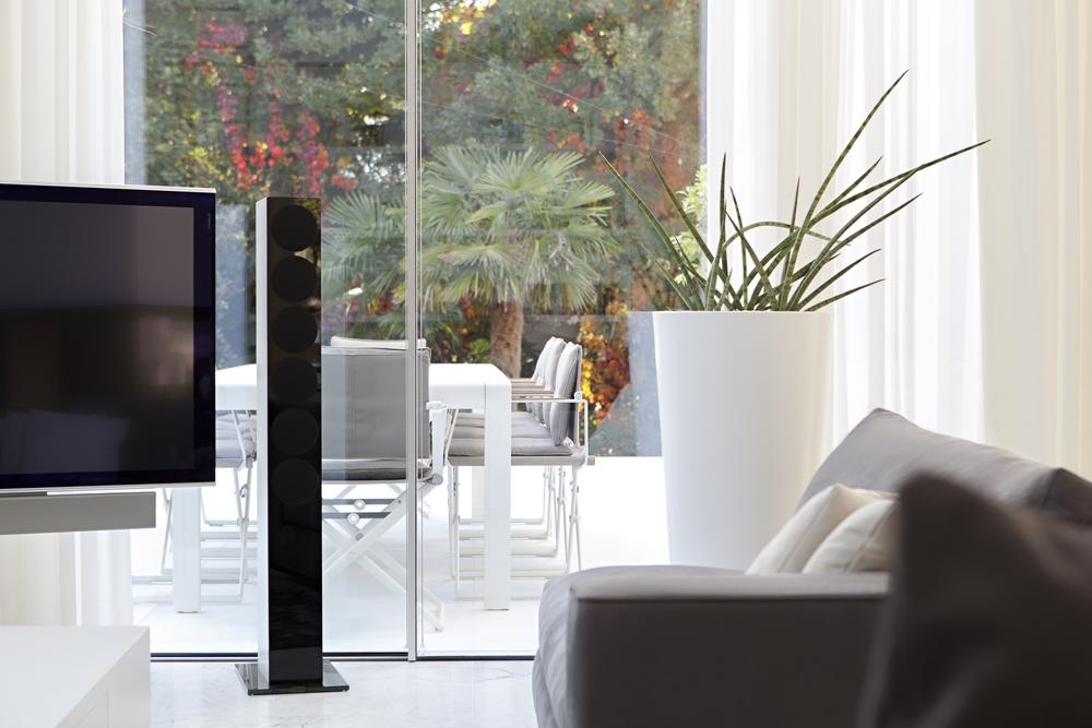 Glass Walls Of Modern Living Room