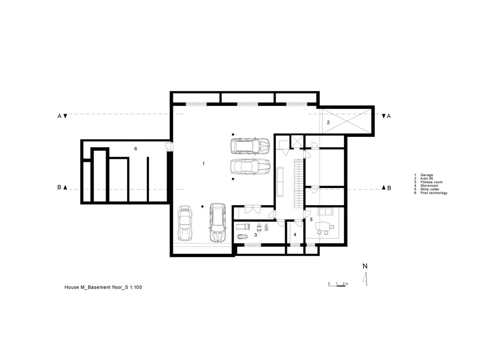 Basement floor plan of house M