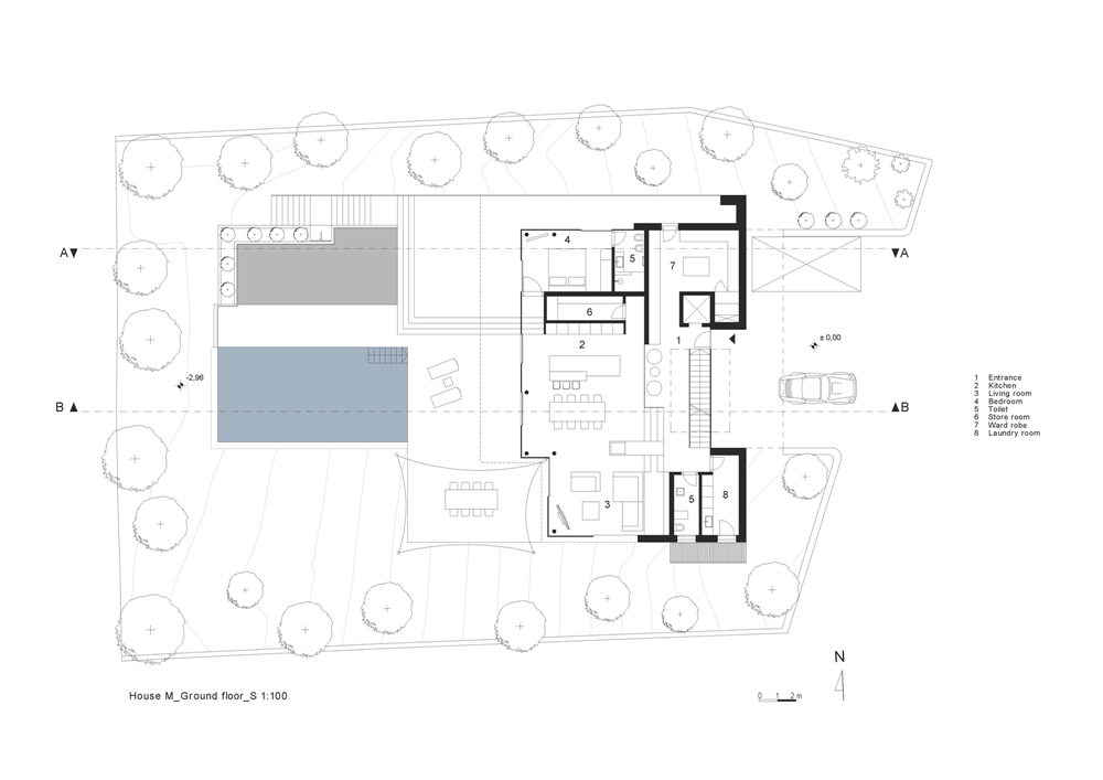 Ground floor plan of House M