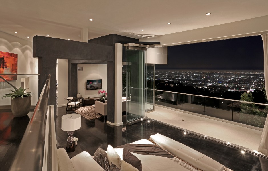Modern bedroom with city view