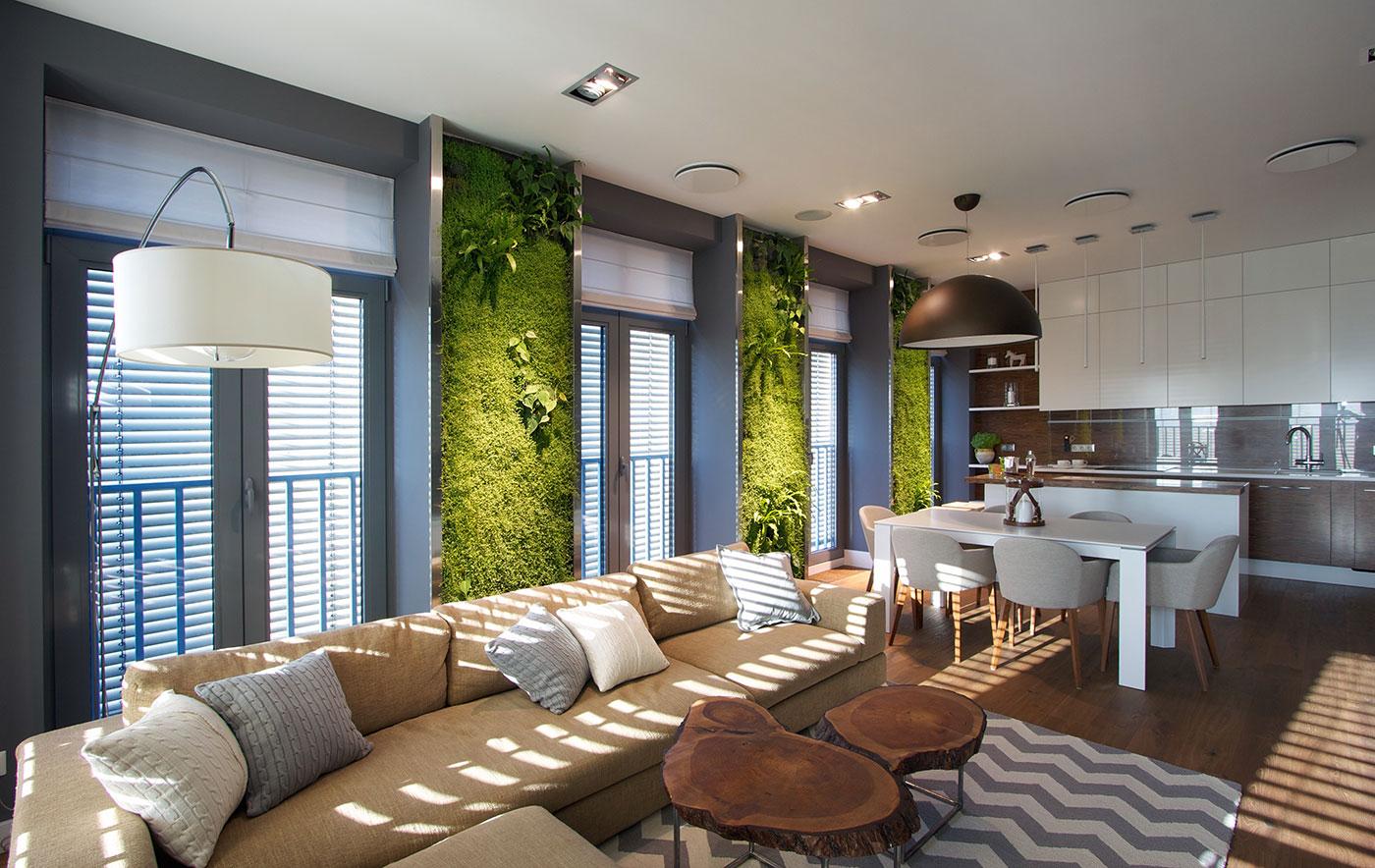 Modern Apartment Design: Green Walls by SVOYA - Architecture Beast