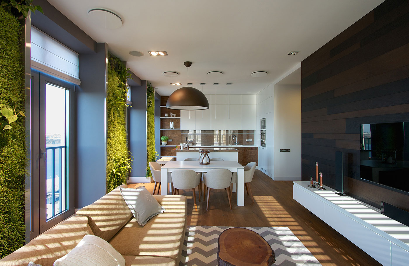 Modern Apartment Design: Green Walls by SVOYA - Architecture Beast