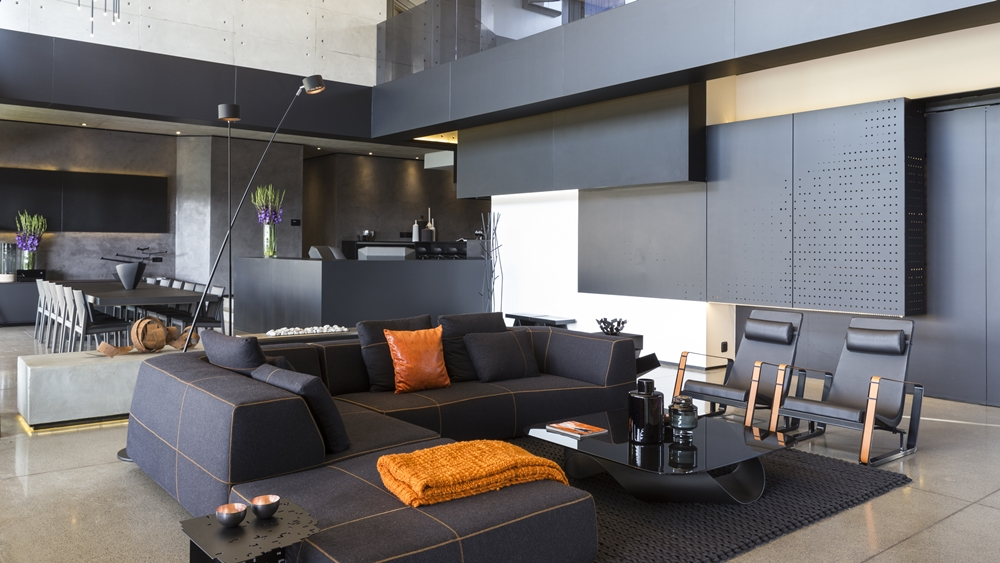 Dark modern living room furniture