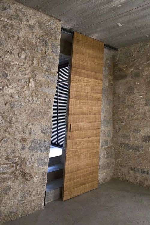 slanted wooden doors
