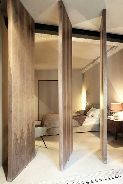 wooden wall as modern door
