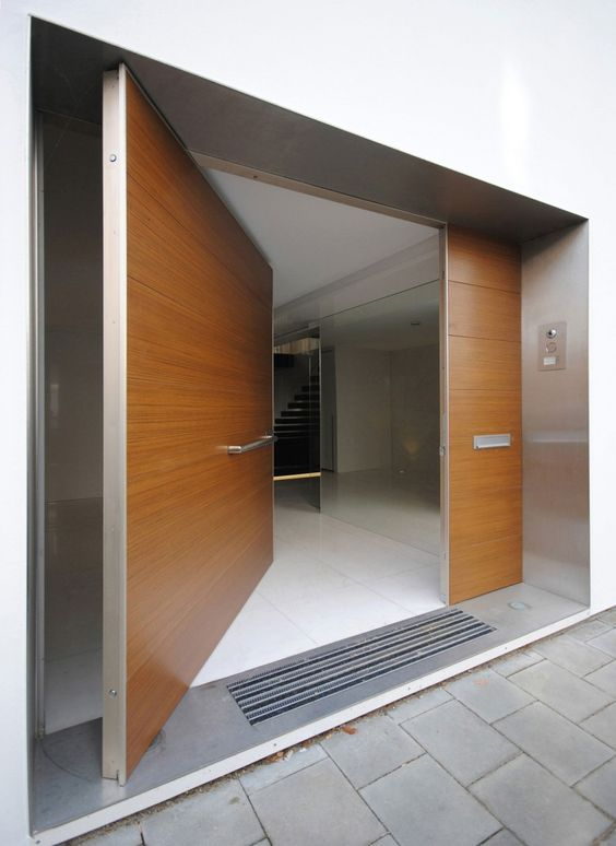 open pivoting wooden doors