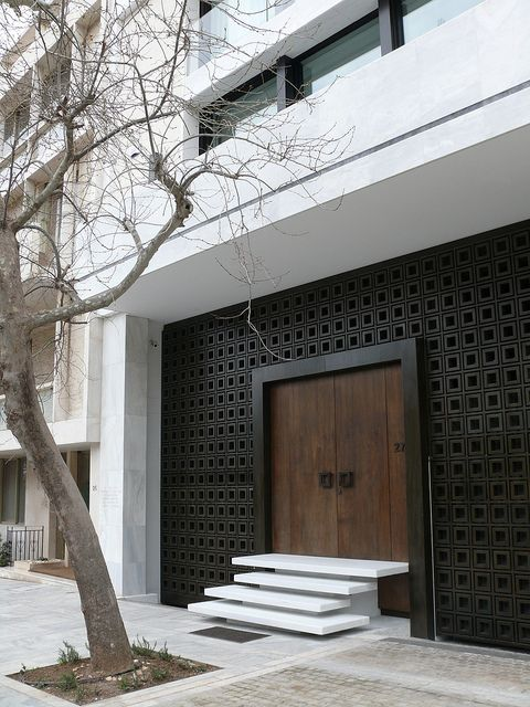 modern facade and entrance door