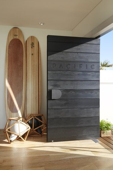 black wooden door design