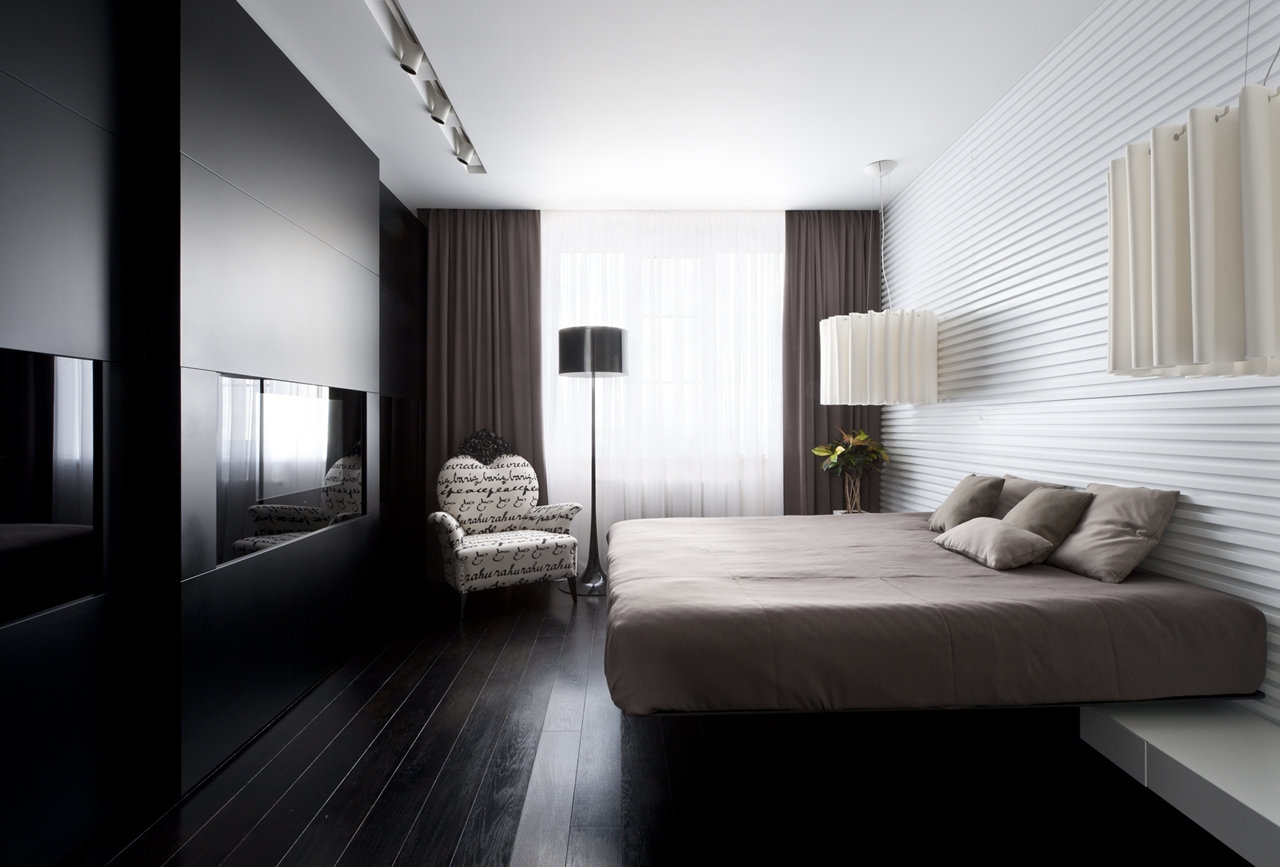 Modern Dark Bedroom By Alexandra Fedorova
