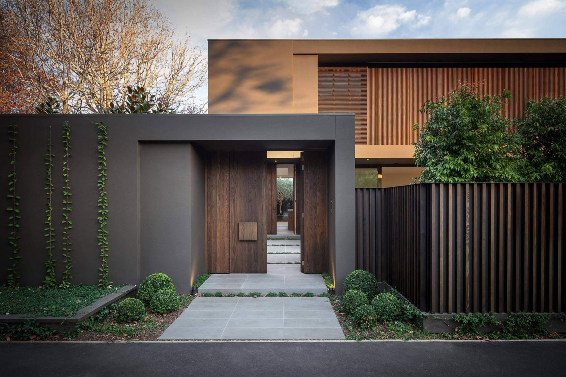 modern gate and house colors by urban angles - Exterior House Colors Brown
