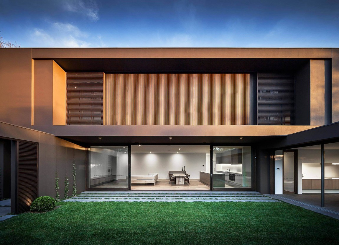 House colors amazing modern facade in brown for Minimalist house materials