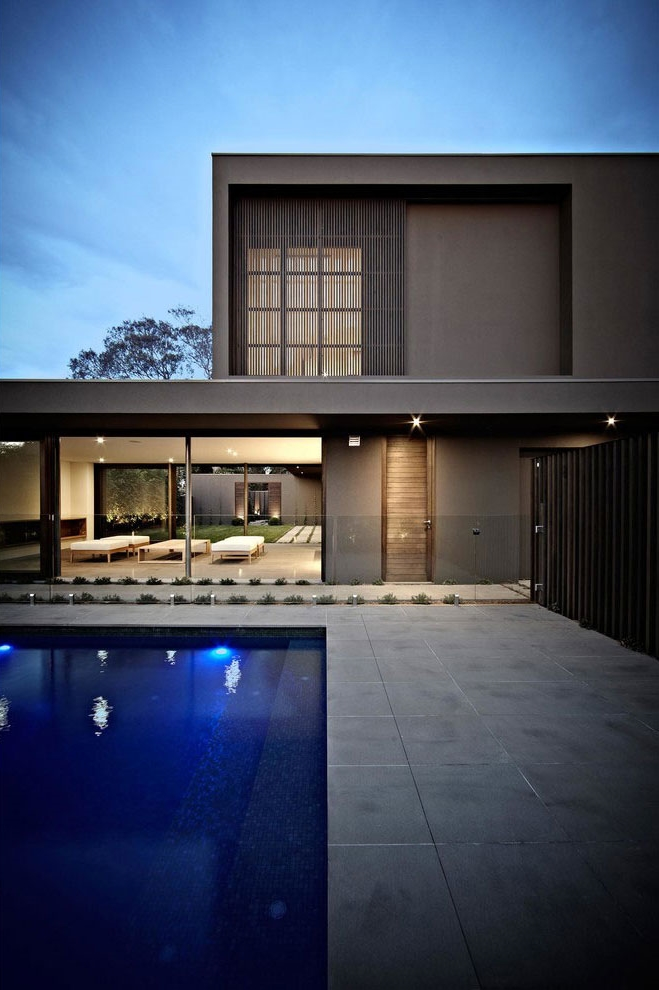 House colors: Amazing modern facade in brown ...
