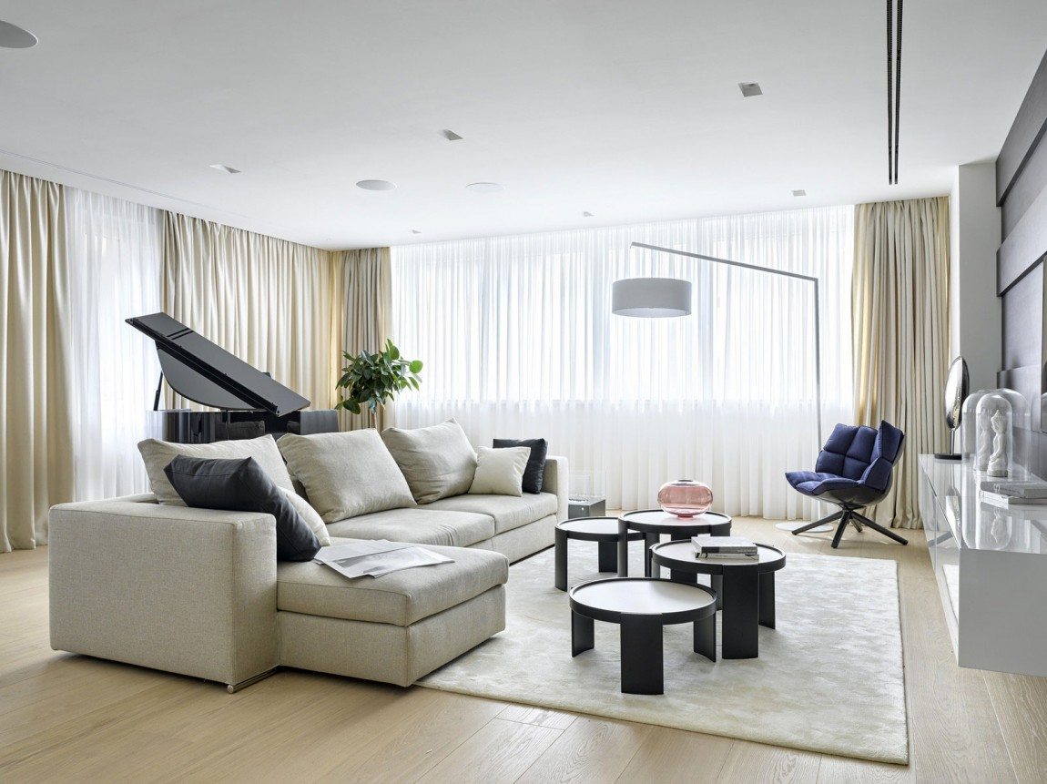 Room ideas luxury apartment design by alexandra fedorova for Modern apartment living room