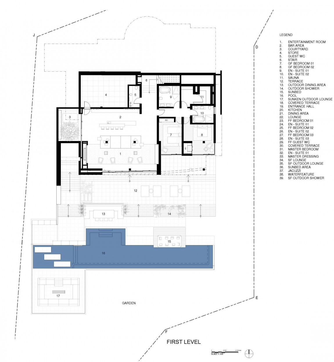 Ground floor plan of modern villa Roca by SAOTA